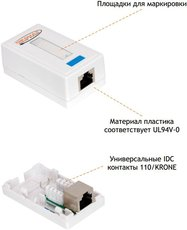Сетевая розетка NIKOMAX NMC-WO1SD2-WT