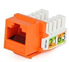 Модуль-вставка Hyperline KJ2-8P8C-C5e-90-OR