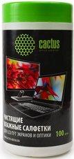 Cactus CS-T1001 чистящие салфетки для экранов и оптики, туба 100шт