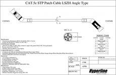 Патч-корд Hyperline PC-APM-STP-RJ45/L45-RJ45/R45-C5e-1M-LSZH-BL