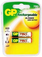 Аккумулятор GP (AAA, NiMH, 750mAh, 2 шт)