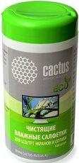 Cactus CS-T1001E чистящие салфетки для экранов и оптики, туба 100шт