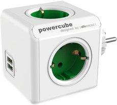 Сетевой разветвитель Allocacoc PowerСube Original Green 2x USB