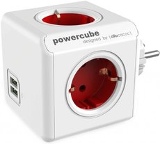 Сетевой разветвитель Allocacoc PowerСube Original Red 2x USB