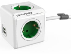 Сетевой удлинитель Allocacoc PowerCube Extended Green 2x USB